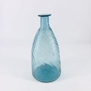 "Antique Blue Hand Blown Glass Bottle Swirl Optic Design 7"""