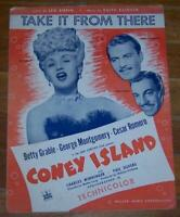 Betty Grable Cesar Romero Coney Island Lot of Two Pieces of Movie Sheet Music