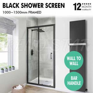 1000~1500mm Shower Screen Wall to Wall Matt Black Framed Bar Handle Sliding Door