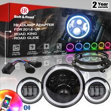 "Harley Street Glide 7"" RGB LED Headlight & Halo Passing Lights & Black Bracket"