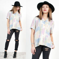 WOMENS VINTAGE 90'S ABSTRACT CRAZY PATTERN OPEN COLLAR OVERSIZE SHIRT BLOUSE 12