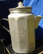 Pure Aluminum Patented Feb 15 1916 Coffee Pot ~ Very Early Patent Glass Top Perk