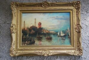 """Mid 19th/C Venetian Canal Painting """"The Grand Canal at Sunset"""" (141)"""