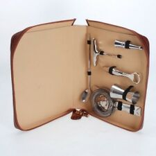 Embossed Leather & Stainless Steel Bar/Cocktail Set Made In Italy- Kim Seybert