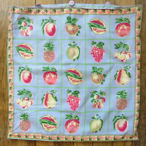 """April Cornell Pair Cushion / Pillow Covers Fruit Blue Pink Green Yellow 15.5"""" Sq"""