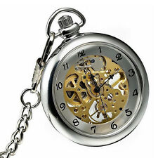 Silver Dress Mens Mechanical Hand Winding Skeleton Pocket Watch with Chain