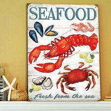 Seafood Fresh Sea Retro Advert Metal Wall Sign Kitchen Gift Decor Diner 50164