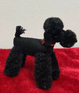 vtg Steiff 1960s Poodle Dog Wool Felt Black Jointed Glass eyes nose Barbie mini