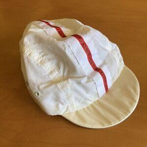 Vintage 90's Calvin Klein Jeans Designer Cycling Cap White Red Stripe Hat Flip