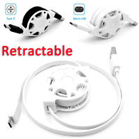 1M Retractable Micro USB/Type C Quick Data Sync Charging Charger Cable Lead Cord