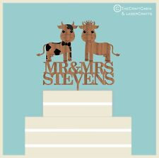 ''Mr & Mrs Farm Cow's'' Wooden Personalised Wedding Cake Topper Vintage, Rustic
