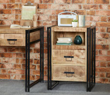 UP-Cycled Industrial Style 2 Drawer Bedside Table made from Metal & Wood ID26
