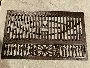 Ornate  Antique Cast Iron Fireplace Summer Cover Plate, Free S/H