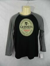 """New Small Gray Black GUINNESS Stout Jersey T Shirt 38"""" Chest Beer Long Slv G12"""