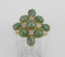 Cocktail Right Hand Ring Size 8 14K Yellow Gold Jade and Diamond Cluster