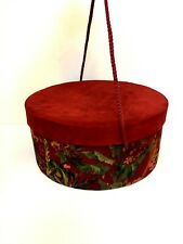 """Round """" Red w/Tropical Trees Pattern Cardboard & Fabric Hat Box w/Rope Handles"""