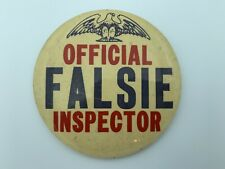 VINTAGE 1960s Official Falsie Inspector - Humor Comedic - Pinback Button