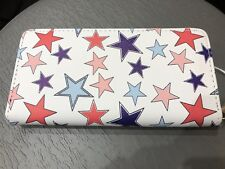 Designer Inspired Faux Leather Wallet Single Zip Around STARS Americana