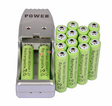 16X AAA 3A 1800mah1.2V NiMH rechargeable battery Green+USB Charger