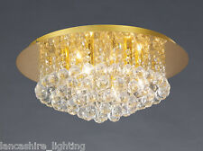 Stylish Flush Ceiling Light In Gold With Crystal Ball Droplets 6 x 40W