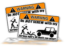Funny Jeep 4x4 Off Road Mud Rock Warning Sticker decal