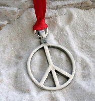 PEACE SIGN HIPPIE 60s Pewter Christmas ORNAMENT Holiday
