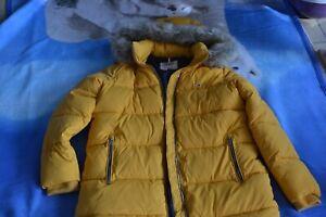 Tommy Jeans Winterjacke Gr L, Jacke, gelb Damen, Pelzimitat an der Kapuze