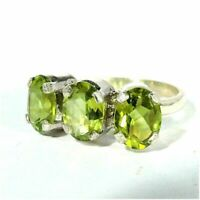 925 Sterling Silver Ring with Natural Peridot Cut Stone 6.5 Size Gemstone R-57