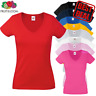 Fruit Of The Loom LADIES T-SHIRT V-NECK LADY FIT COTTON  LYCRA PLAIN TOP WOMEN