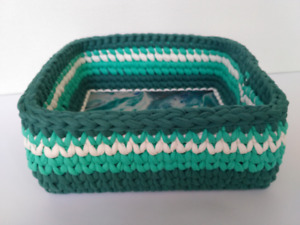Crochet basket Green square, painted wooden base, Unique gift, Knitted organizer