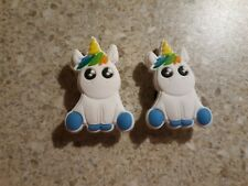 Lot 2 White Unicorns shoe charms for Crocs shoes Other uses Craft, Scrapbook