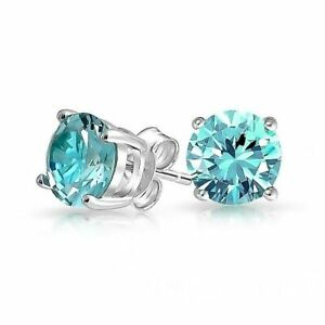 Earrings; Stud Aqua Blue Zircon Gemstone 2.0 CTTW White 925 Sterling Silver NEW