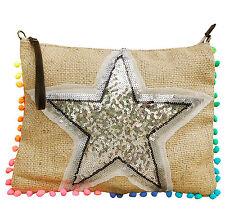 Handtasche Clutch Tasche Schultertasche Jute Leder Stern aus Pailletten Silber