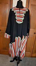 African Ceremonial Dress Hand Made Hand Tailored Black LARGE Kaftan OOAK *MINT