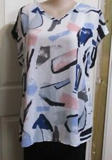 LADIES PLUS SIZE 20 BLOUSE NAVY AND WHITE SHORT SLEEVED