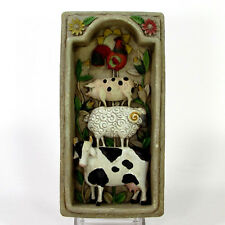 """Jim Shore STACKED ANIMALS 8"""" Garden Artistry Plaque 955566 Cow Sheep Pig Rooster"""
