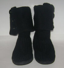 UGG Australia 5819 Black Classic Cardy Sweater Knit Tall Boots Women's Size 6