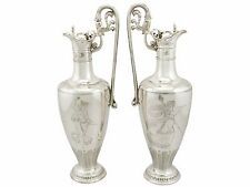 Victorian Pair of Sterling Silver Claret Jugs by Elkington & Co - 1850-1899