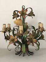 Superbe lustre à fleurs en tôle peinte 6 lumières