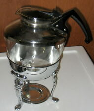 Vintage Coffee Decanter with Black Handle and Silver Stand