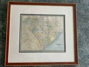 Antique 1888 South Carolina Map by George Cram Wax Engraved Framed with COA