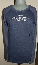 ABERCROMBIE & FITCH LOGO Navy Long Sleeve Thermal Cotton Tee Sz MEDIUM  NWT