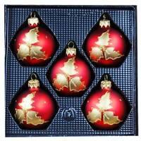 5er Christbaumschmuck Set 6 cm Kugeln Lauscha Rot, Weihnachtsrot Lorbeerblatt