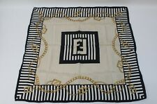Fendi Vintage Handkerchief Scarf Bandanna Chain Pattern Monogram Genuine