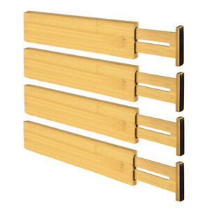 BAMBOO WOODEN KITCHEN EXPANDABLE DRAWER DIVIDERS DRESSER ORGANIZER PARTITION 74