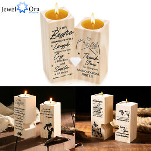 Wooden Candle Holders Tea Light Decorative Candle Holder for Family Child Sister