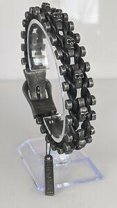 BLACKSTATIC Premium Men's Stainless Steel & Leather Skull Biker Bracelet