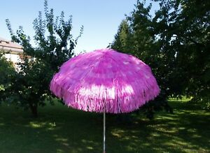 Maffei Parasol Kenya Fuxia Art.6 Raffia d.200 CM With Lining made in Italy