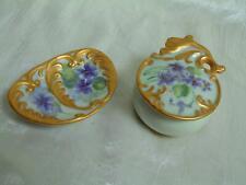 Vtg Hand Painted Porcelain Purple Violets Gilt Pin Dish Trinket Box Dresser Set