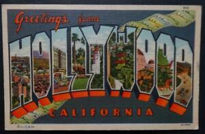 Postcard Large Letter Souvenir Greetings from Hollywood California